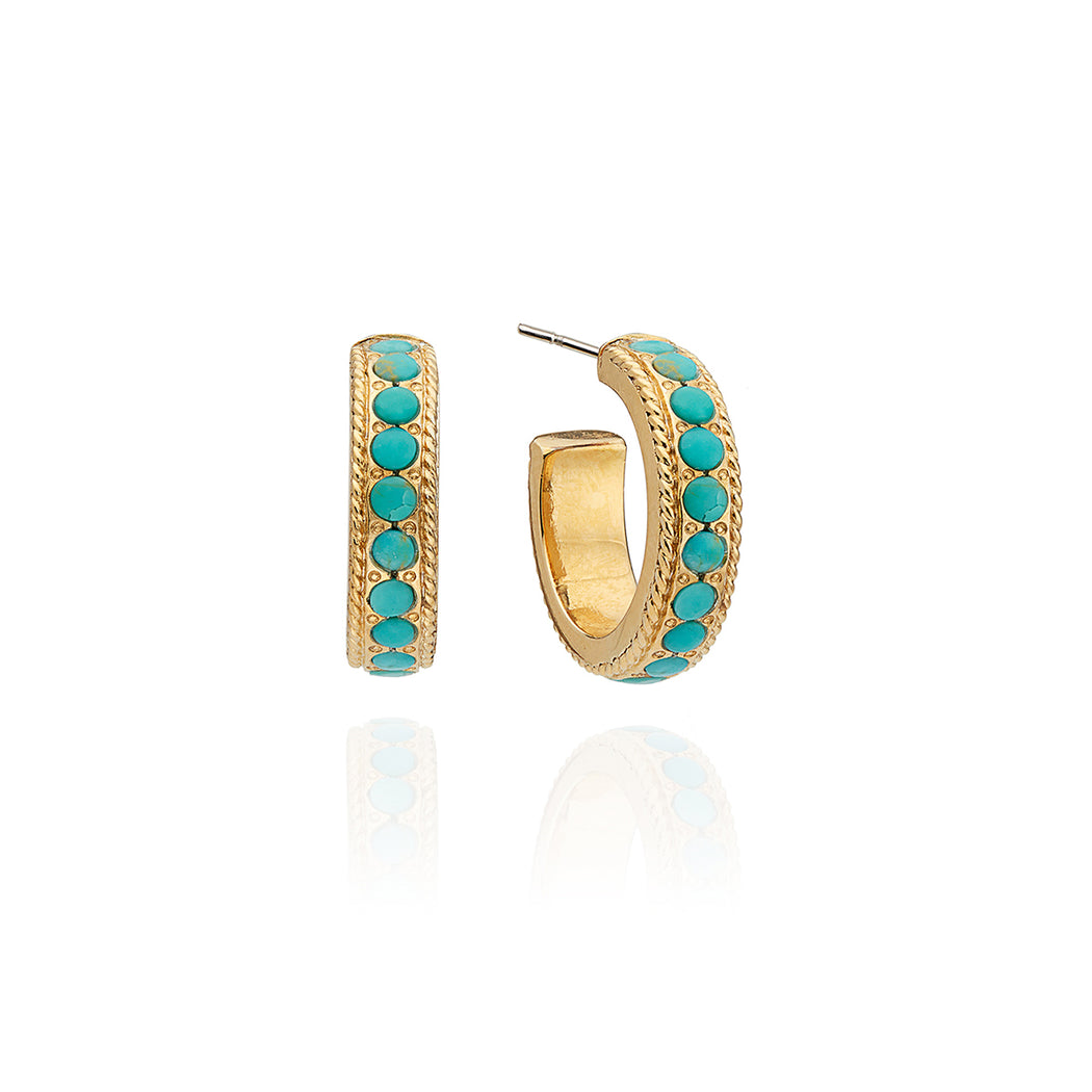 Small Turquoise Páve Hoop Earrings - Gold