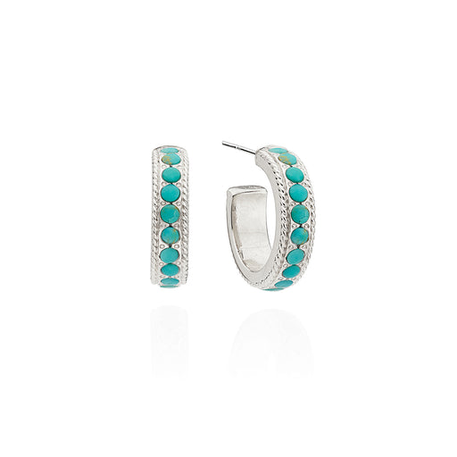 Small Turquoise Pavé Hoop Earrings - Silver
