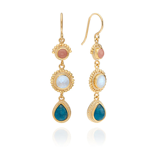 Apatite, Guava, and Moonstone Triple Drop Earrings