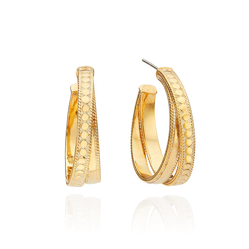 Mixed Metal Crossover Hoop Earrings - Gold