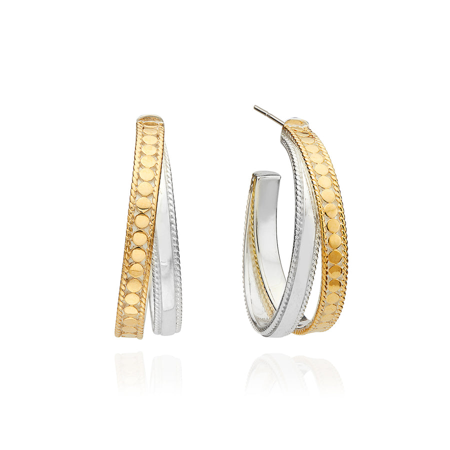 Mixed Metal Crossover Hoop Earrings - Gold & Silver