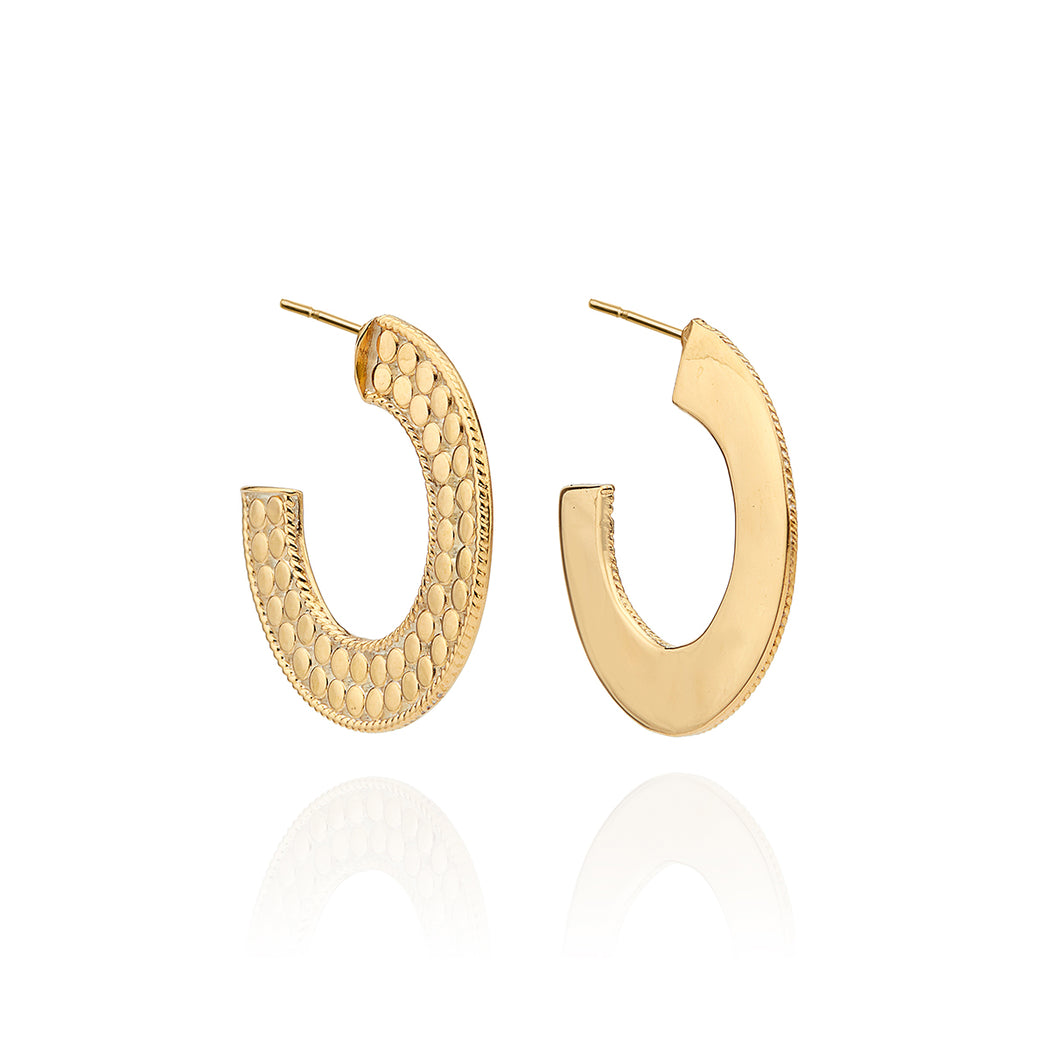 Medium Flat Hoop Earrings - Gold