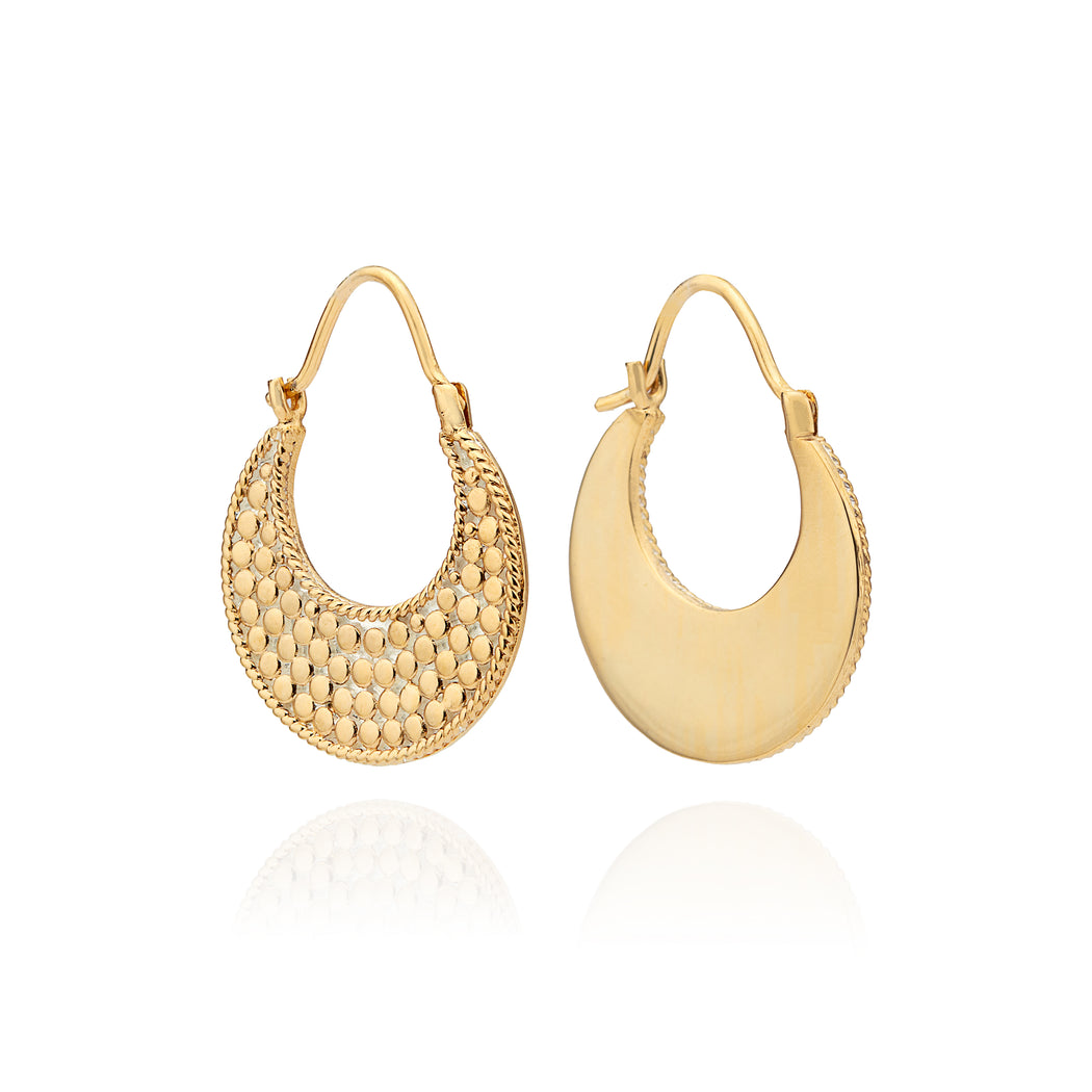 Crescent Hoop Earrings - Gold