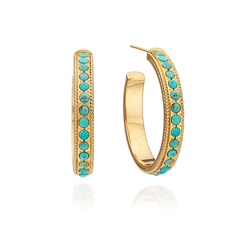 Medium Turquoise Páve Hoop Earrings - Gold