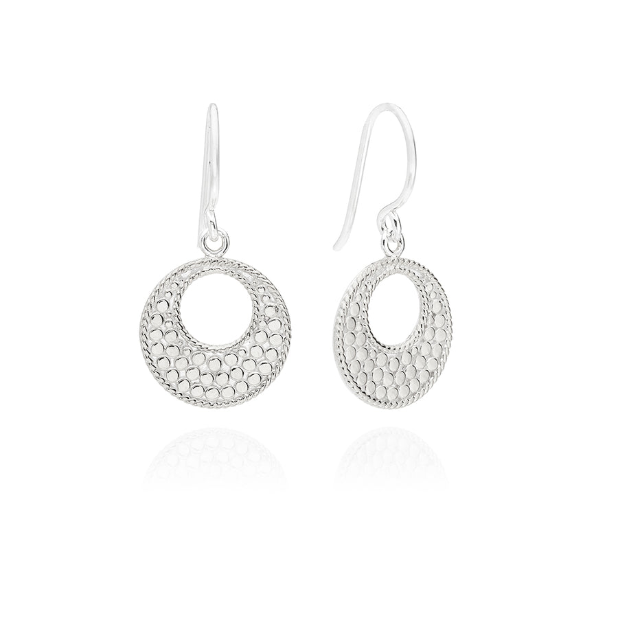 Classic Small Open Circle Drop Earrings - Silver