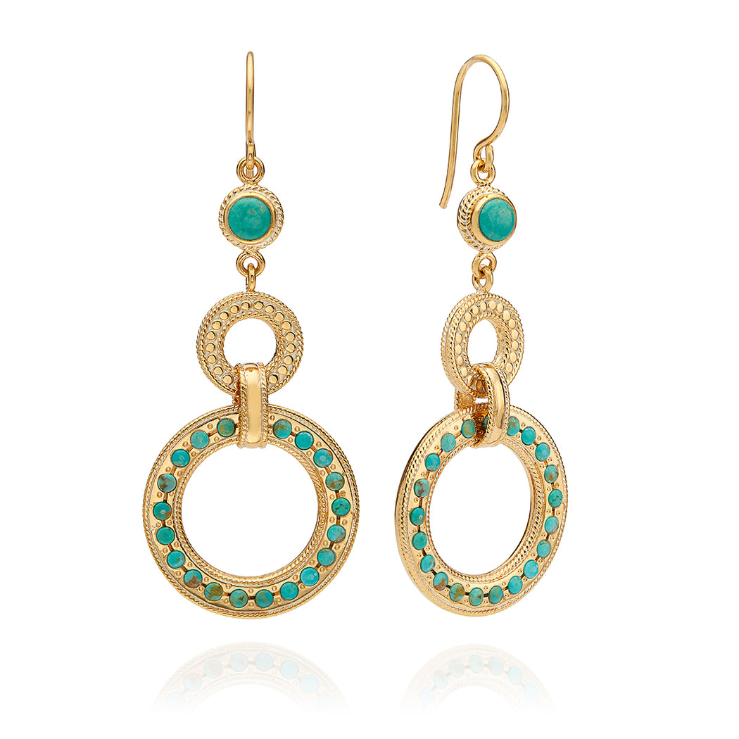 Large Turquoise Pavé Triple Drop Earrings