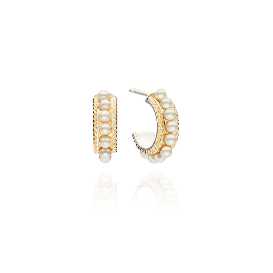 Small Multi-Pearl Hoop Earrings