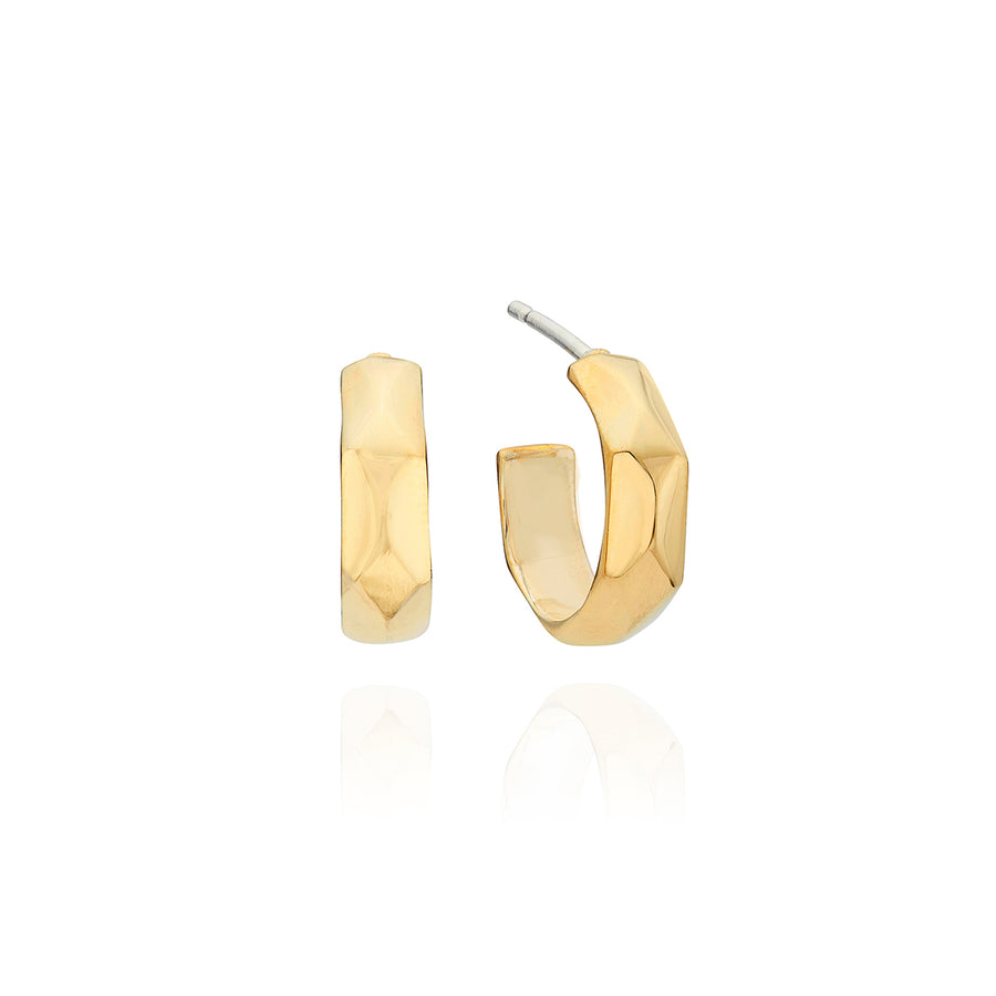 Geo Hammered Small Hoop Earrings - Gold