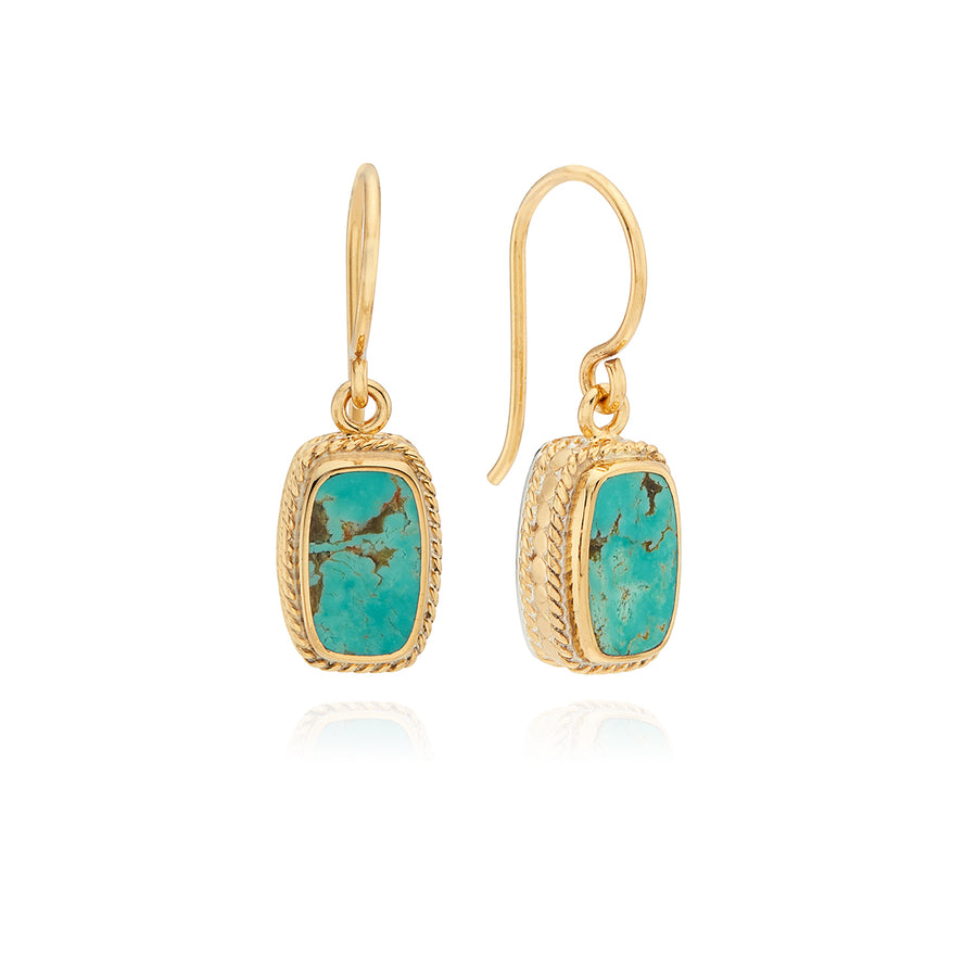 Turquoise Cushion Drop Earrings