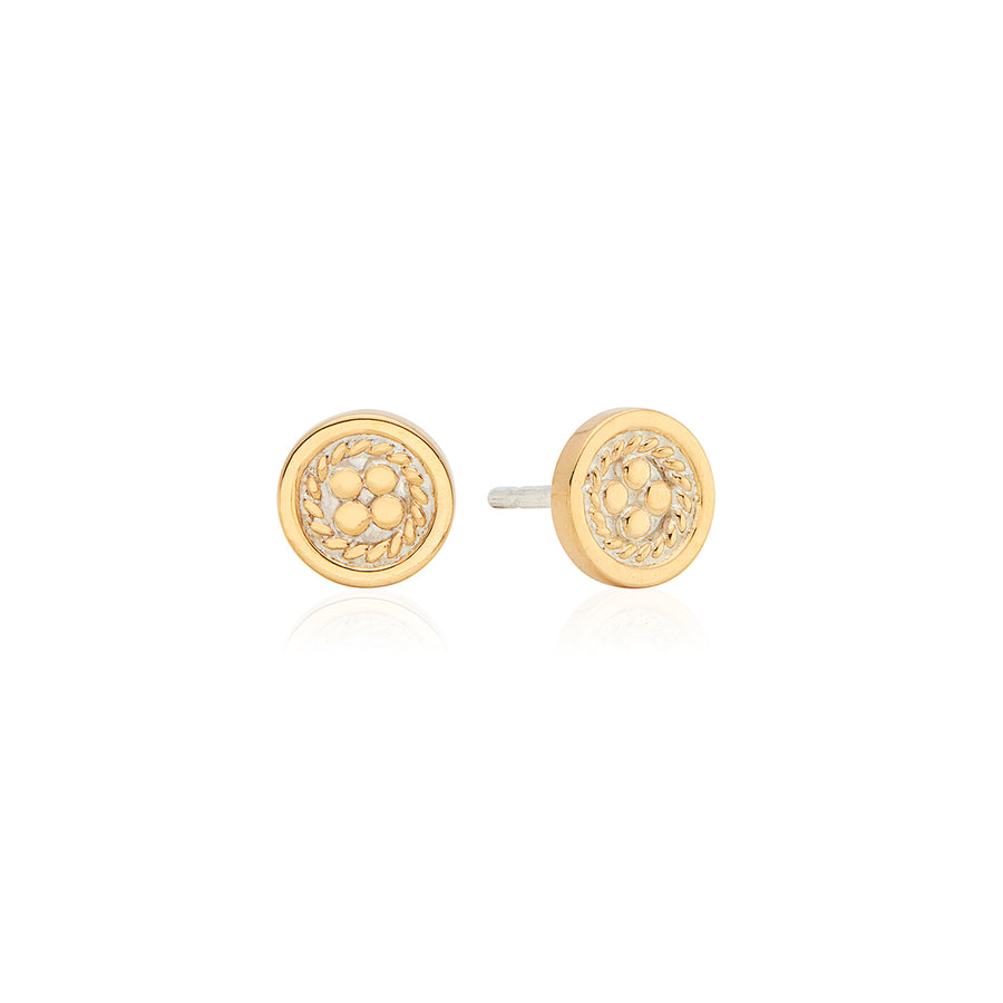 Classic Smooth Border Mini Stud Earrings - Gold