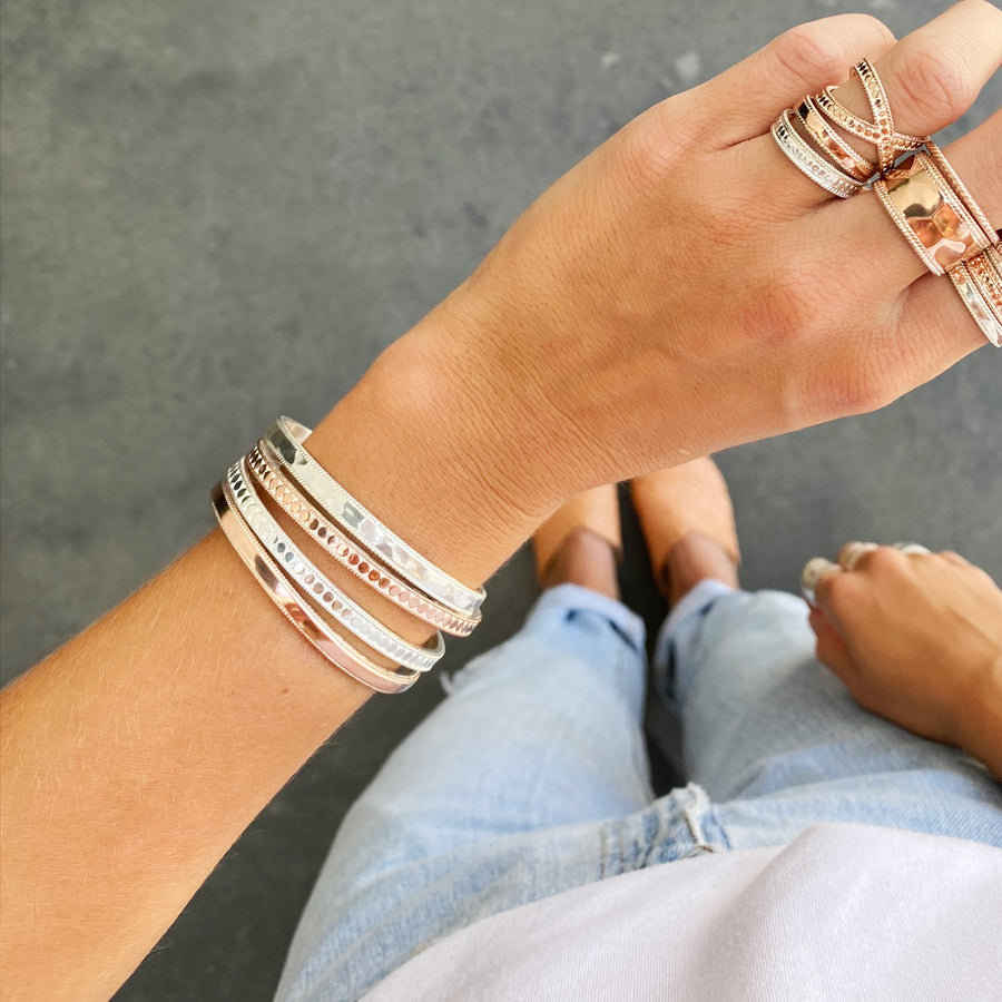 Smooth Band Stacking Cuff - Rose Gold