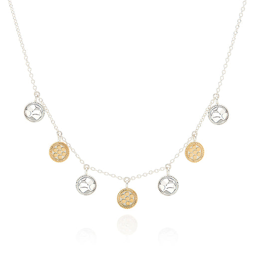Signature Hammered and Dotted Charm Collar Necklace - Gold & Silver