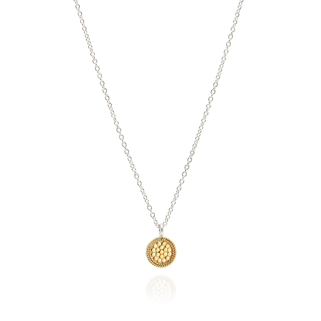 Signature Hammered and Dotted Mini Circle Necklace - Reversible