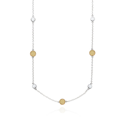 Signature Hammered and Dotted Station Necklace - Gold & Silver