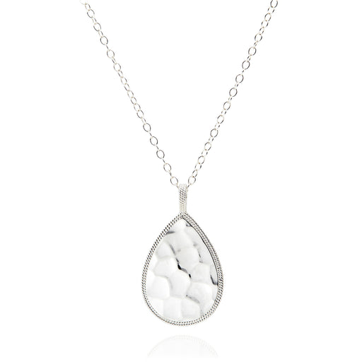 Signature Hammered and Dotted Teardrop Pendant Necklace - Reversible