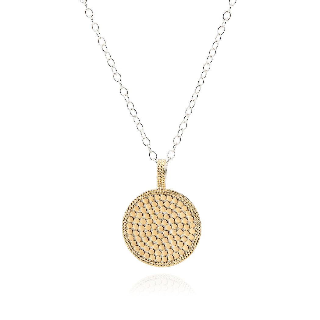 Signature Hammered and Dotted Circle Pendant Necklace - Reversible