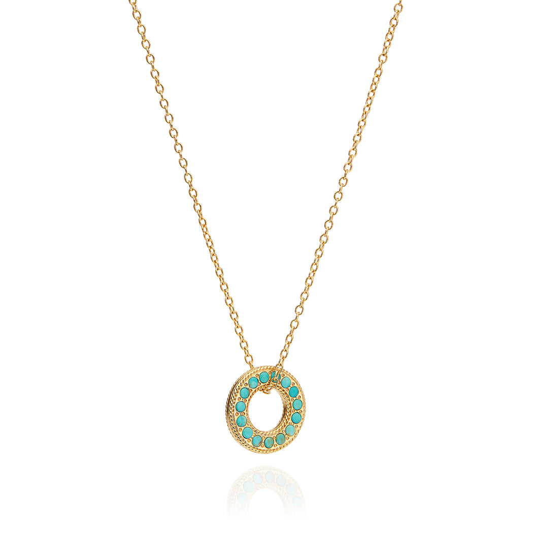 Turquoise Pavé Open Circle Necklace