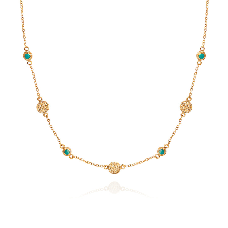 Turquoise Multi-Disc Station Necklace