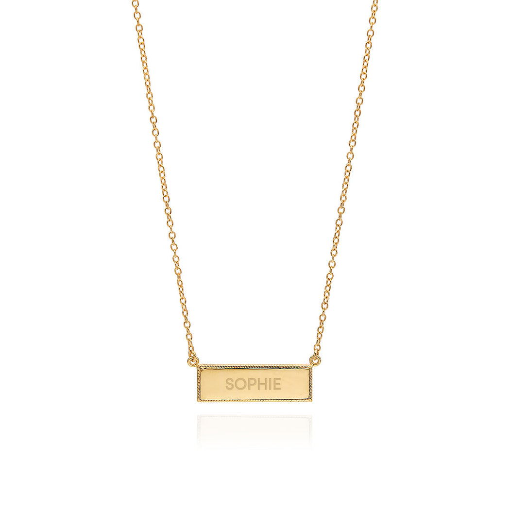Engravable Bar Necklace - Gold