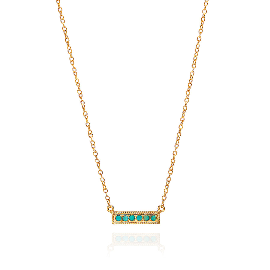 Turquoise Pavé Bar Necklace
