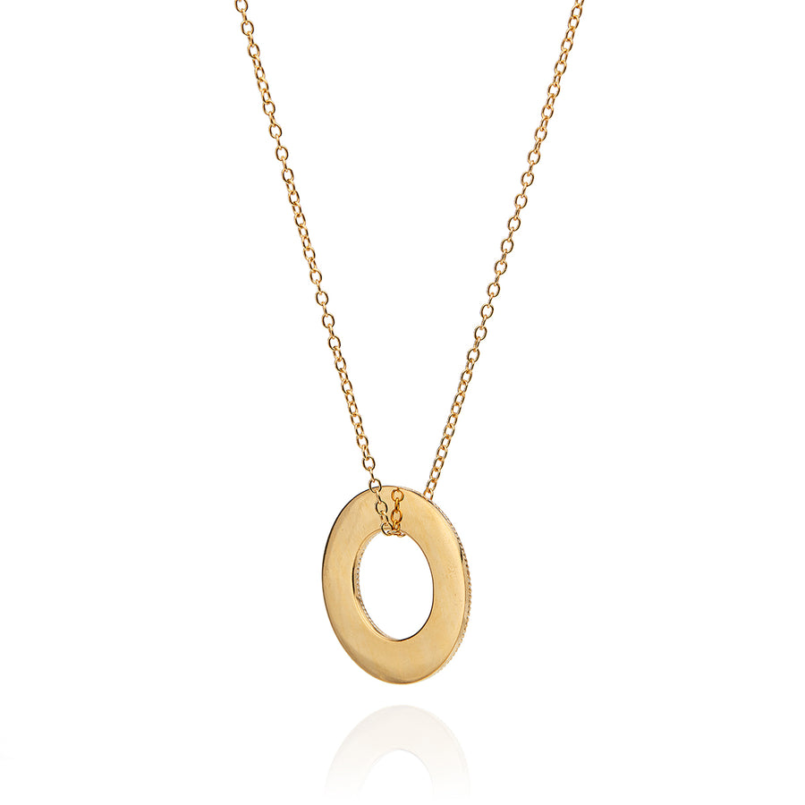 Flat Open Circle Necklace - Gold