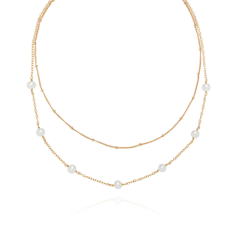 Double Chain Pearl Necklace