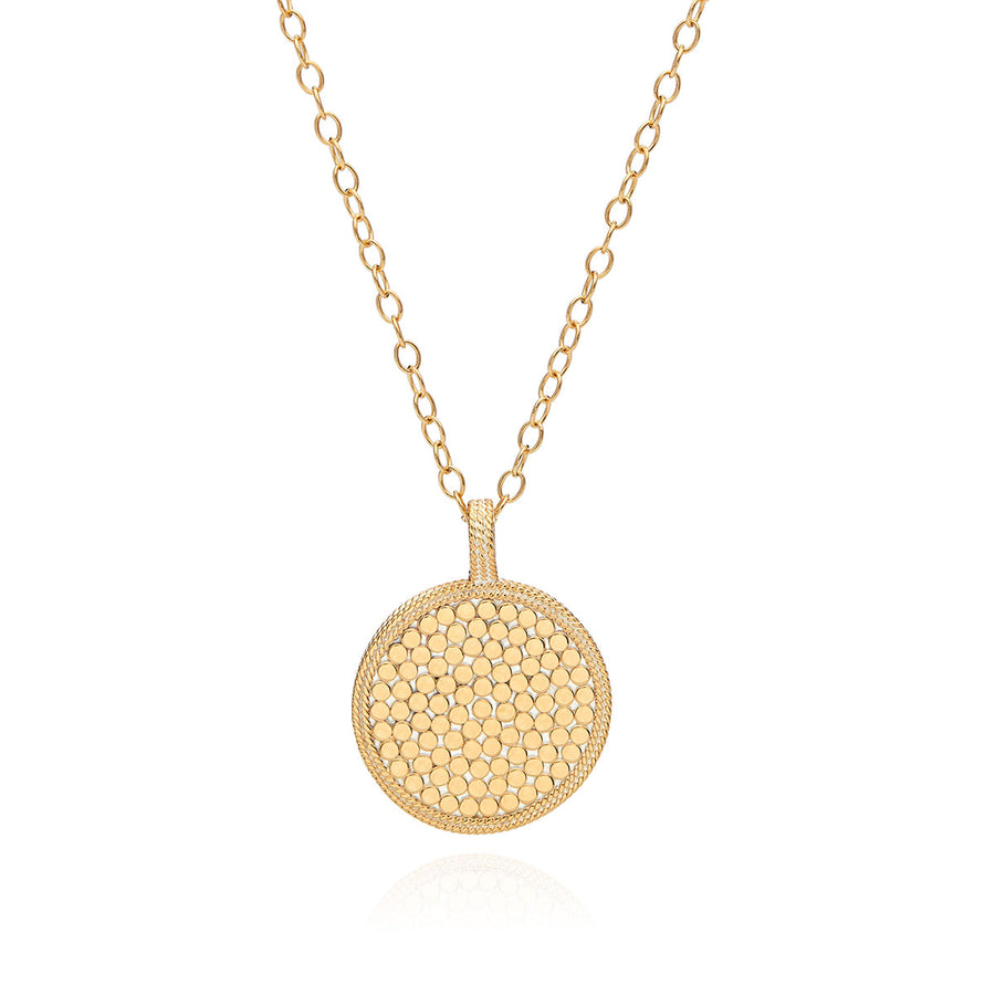 Hammered Pendant Necklace - Gold