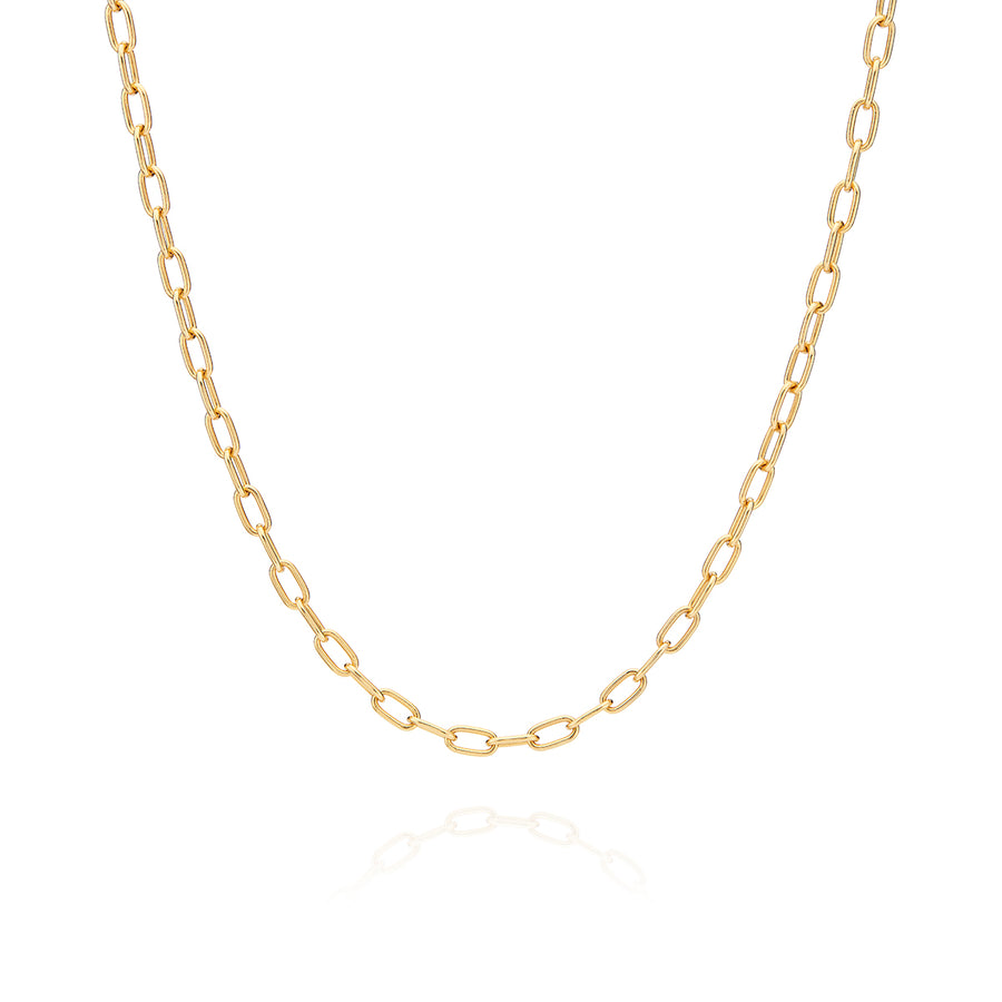 Elongated Oval Chain Collar Necklace