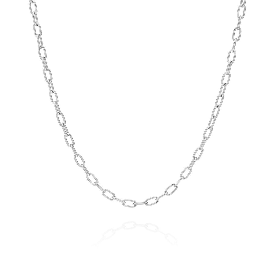 Elongated Oval Chain Collar Necklace - Silver
