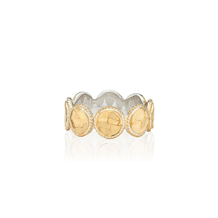 Hammered Multi-Disc Ring - Gold