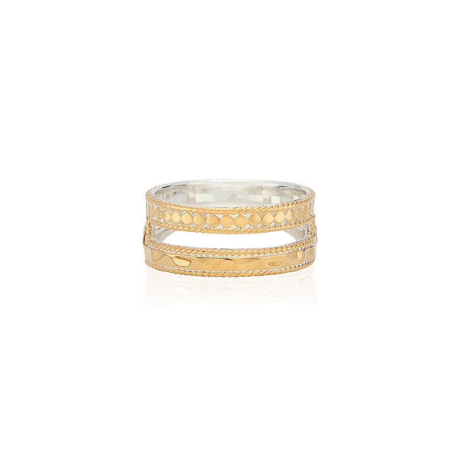 Hammered Double Band Ring - Gold