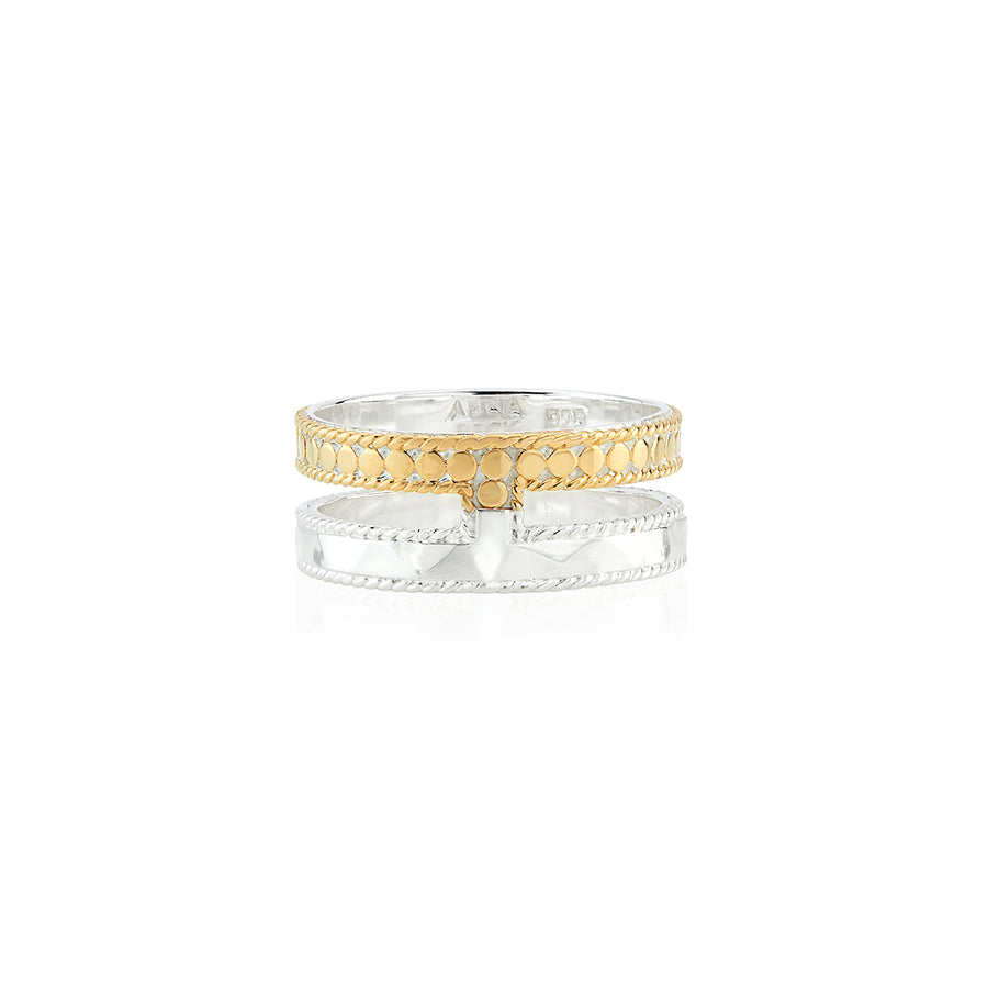 Hammered Double Band Ring - Gold & Silver