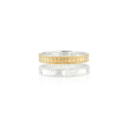 Hammered and Dotted Double Band Ring - Gold & Silver