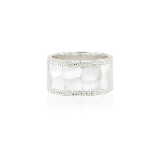 Signature Hammered Band Ring - Silver