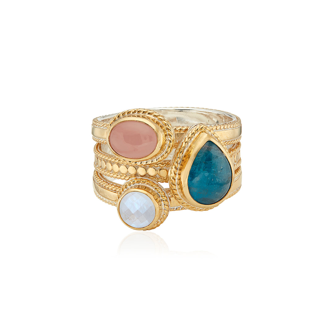 Apatite, Guava, and Moonstone Faux Stacking Ring