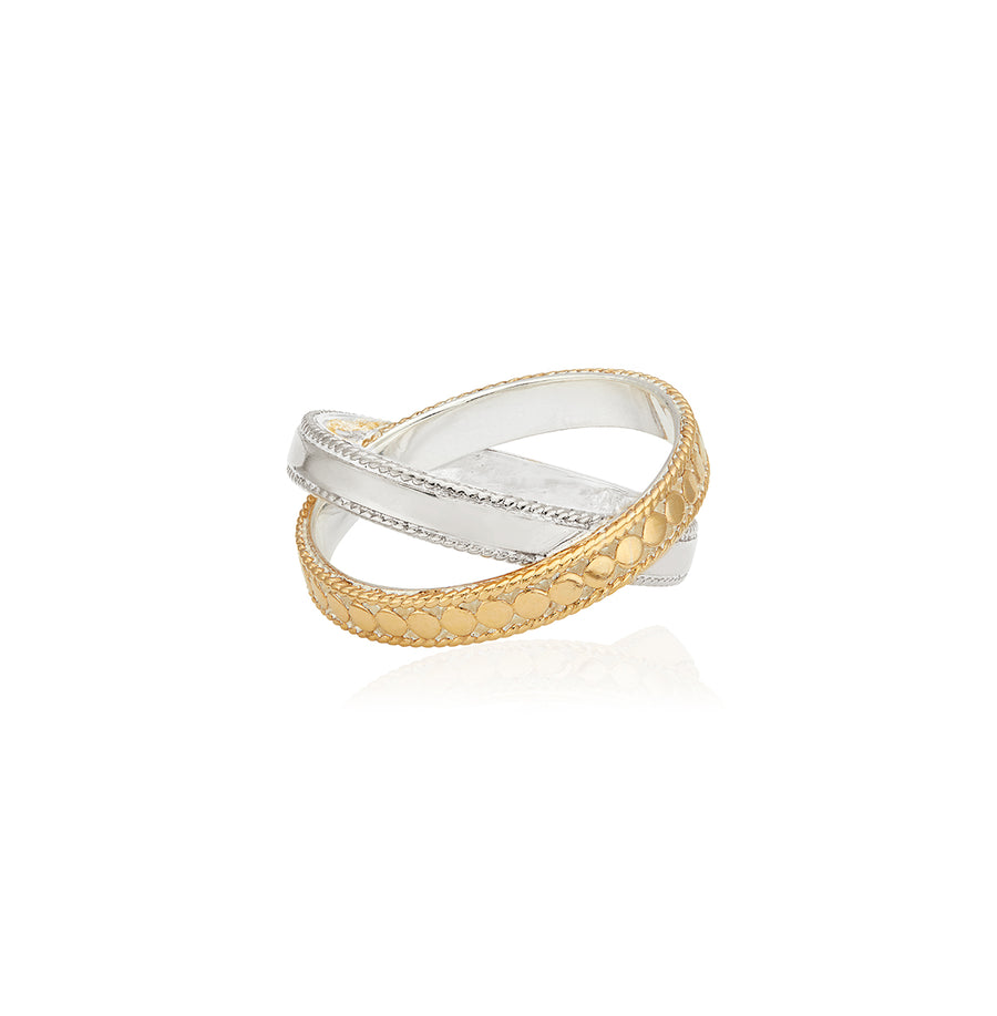Mixed Metal Cross Ring - Gold & Silver