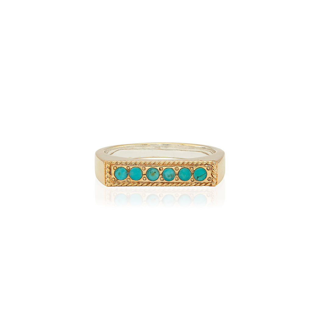 Turquoise Páve Bar Stacking Ring - Gold