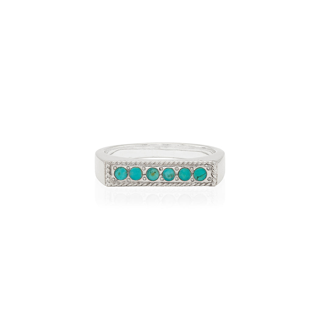 Turquoise Páve Bar Stacking Ring - Silver