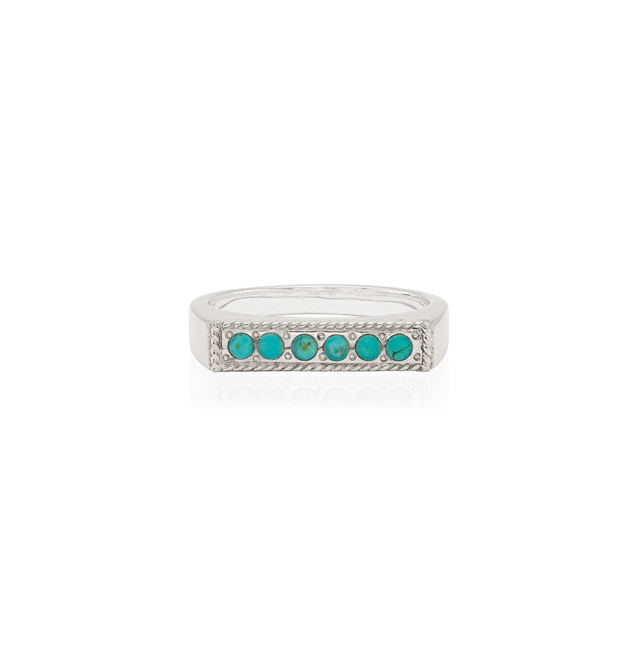 Turquoise Pavé Bar Stacking Ring - Silver