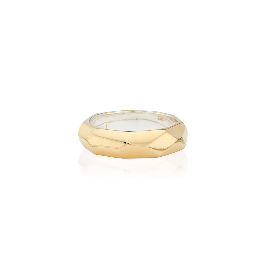 Geo Hammered Band Ring - Gold