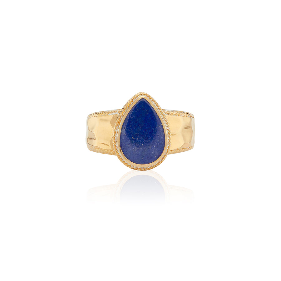 Lapis Hammered Drop Ring