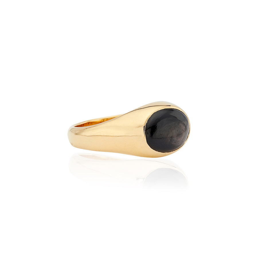 Medium Oval Hypersthene Signet Ring
