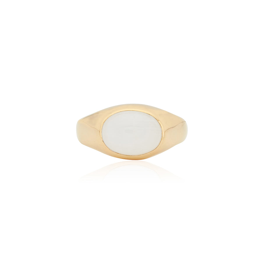 Medium Oval Moonstone Signet Ring