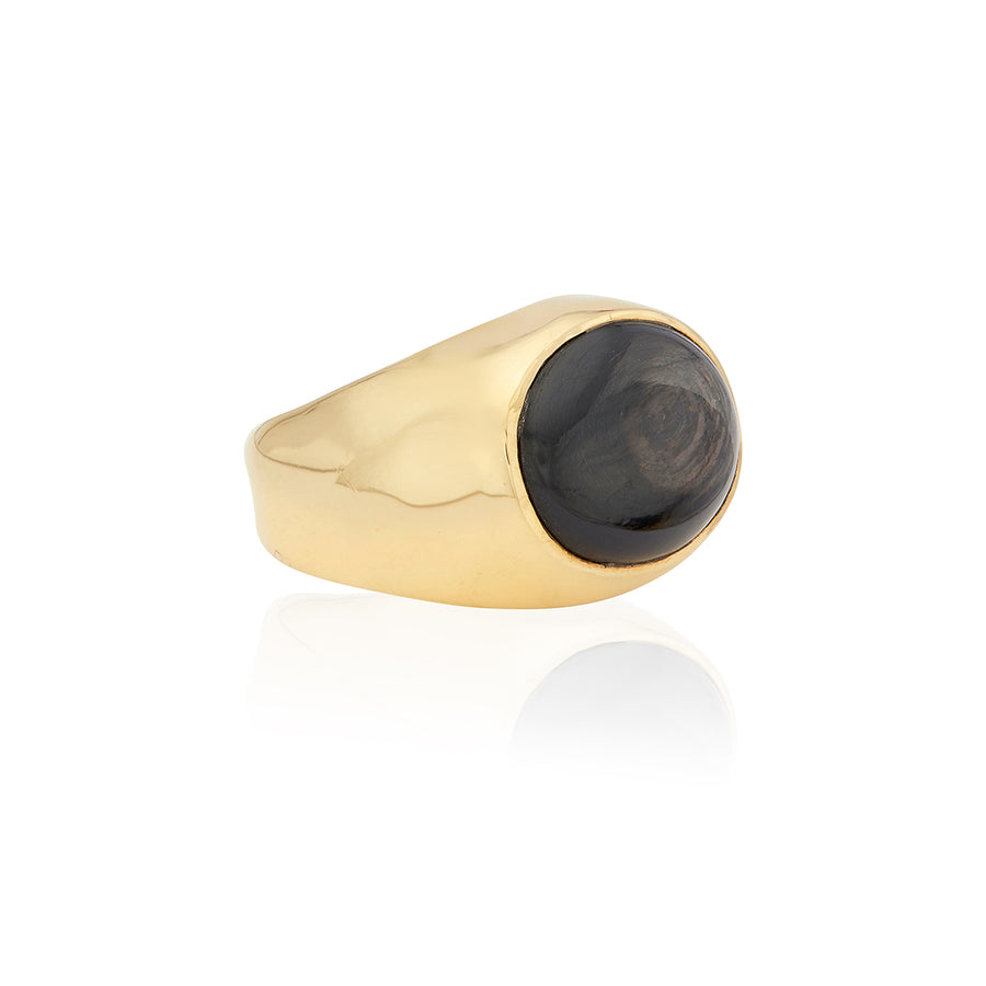 Large Oval Hypersthene Signet Ring