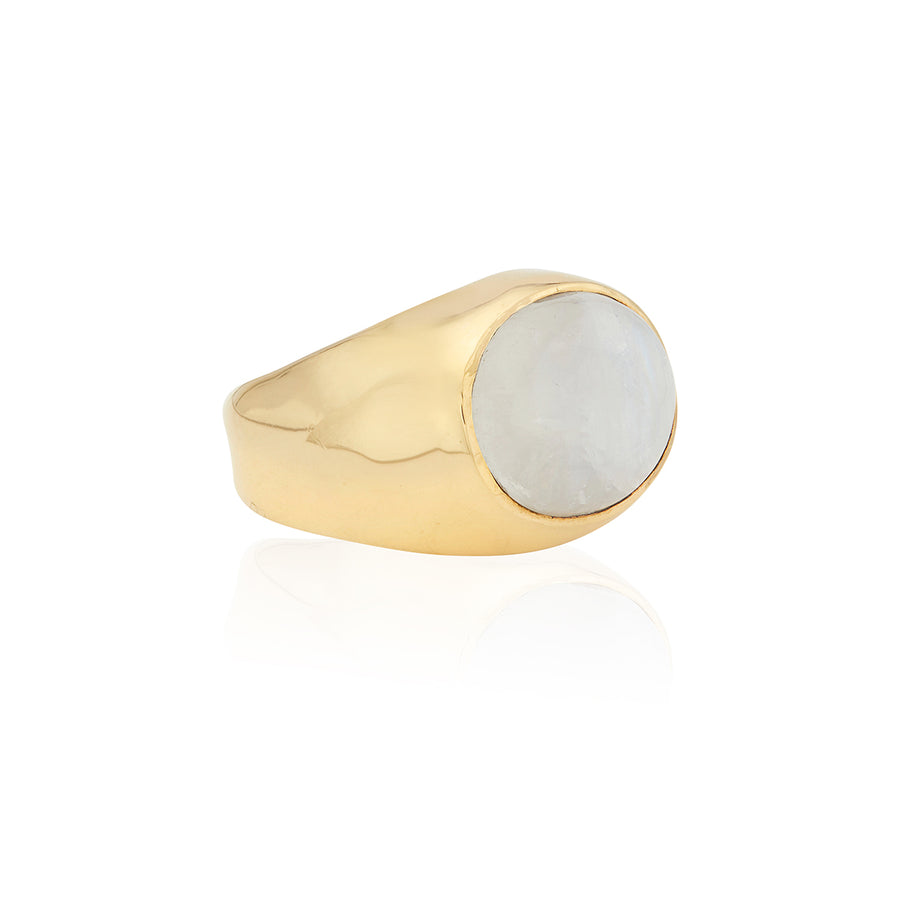 Large Oval Moonstone Signet Ring