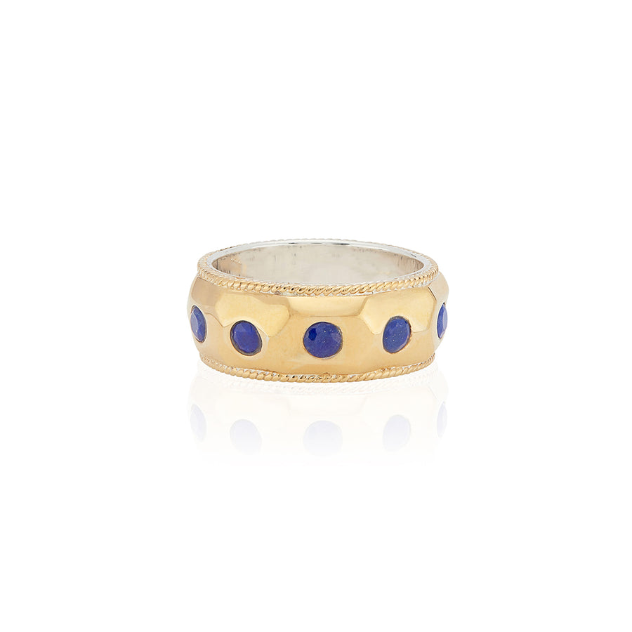 Lapis Hammered Dome Band Ring