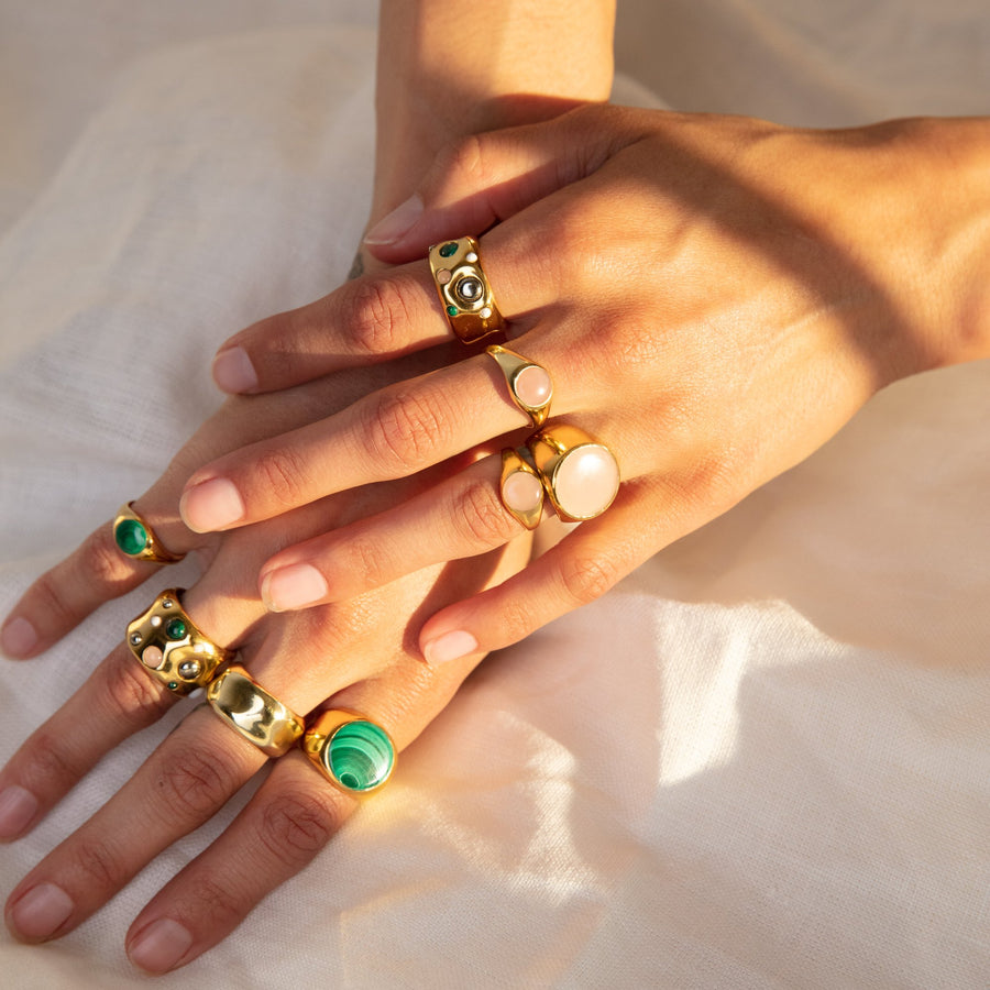 Medium Wavy Stone Ring - Malachite, Guava Quartz, White Agate, and Pyrite
