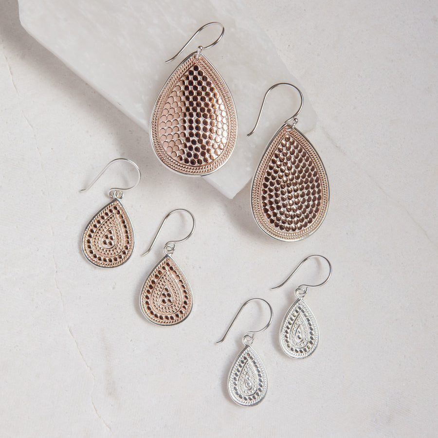 Large Dotted Teardrop Earrings - Rose Gold
