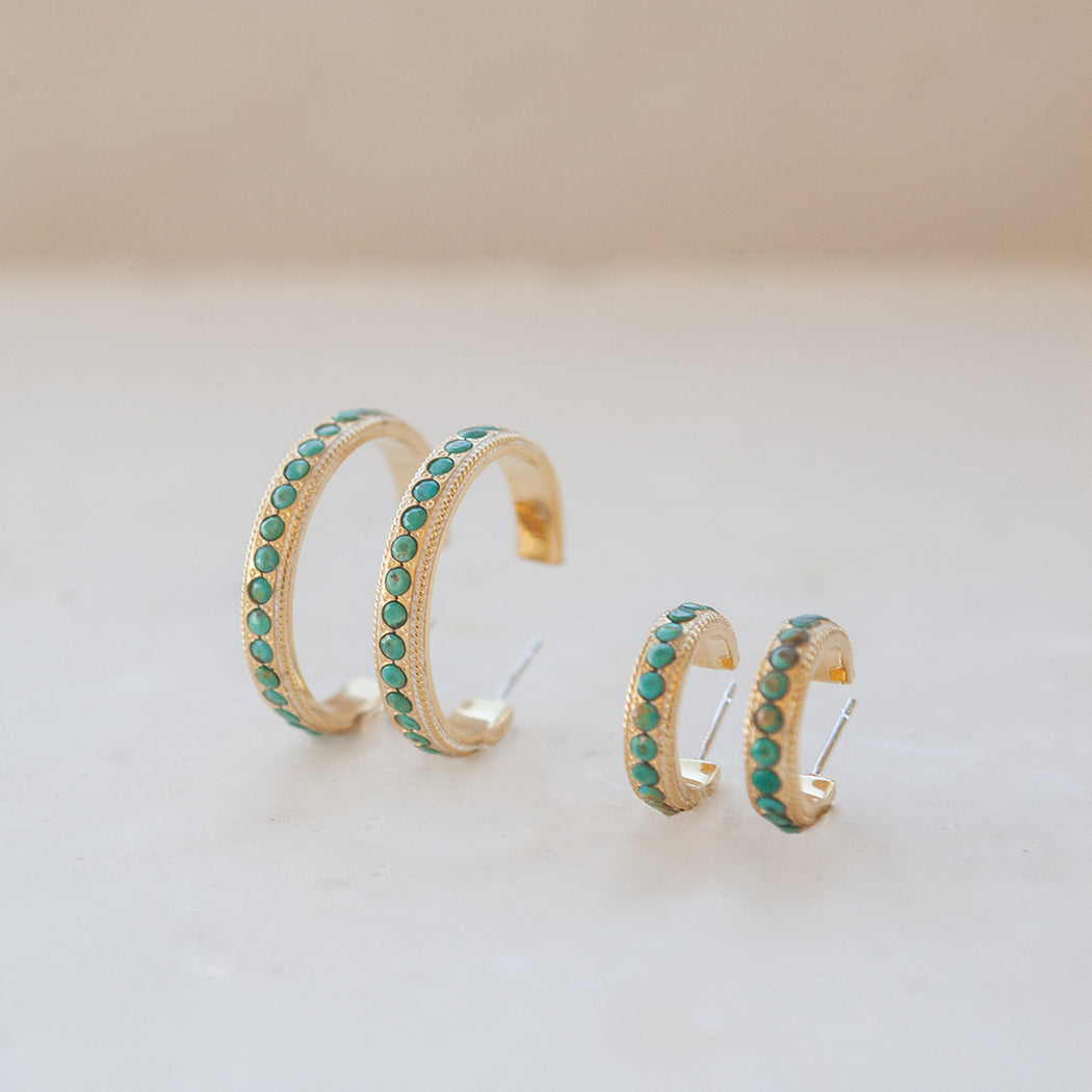 Medium Turquoise Páve Hoop Earrings - Silver