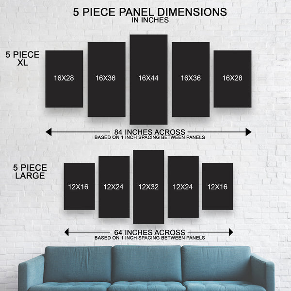 5-Piece canvas wall art size guide